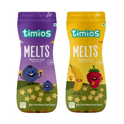 Timios Blueberry and Banana & Strawberry Mix Flavored Melts | Healthy & Natural Food Product for Babies | Combo Pack of 2