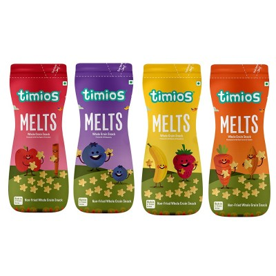 Timios Melts Mix Value Pack| Apple & Cinnamon , Carrot & Cumin , Banana & Strawberry and Blueberry Flavoured Melts | Pack of 4