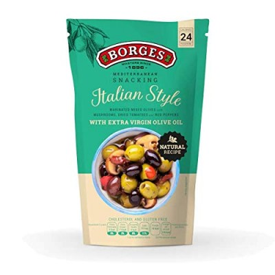 Borges Italian Style Olives with Pepper, Mushroom & Extra Virgin Olive Oil Pouch, 350 g