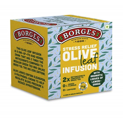 Borges Stress Relief Olive Leaf Infusion, Lemongrass, Olive Leaves & Lemongrass, 10 Bags