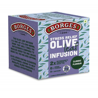 Borges Stress Relief Olive Leaf Infusion, Classic, 10 Bags