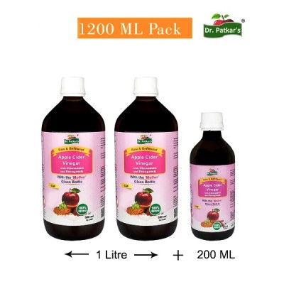 Dr. Patkar's Apple Cider Vinegar with Cinnamon and Fenugreek Special Offer Combo of 1200 ML