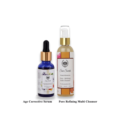 AGE CORRECTIVE SERUM AND PORE REFINING MULTI CLEANSER COMBO FROM LUJOBOX BY SEER SECRETS