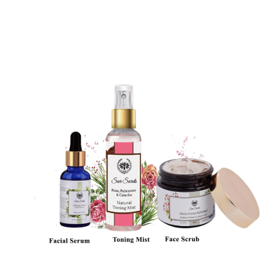 Toning mist, scrub and facial serum combo from lujobox by seer secrets