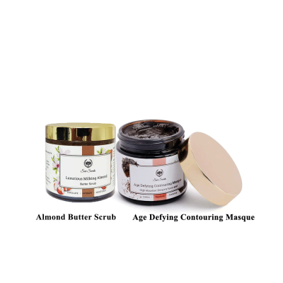 AGE DEFYING CONTOURING MASQUE AND ALMOND BUTTER SCRUB COMBO FROM LUJOBOX BY SEER SECRETS