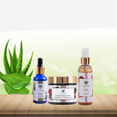 PORE MINIMIZING CLAY GEL, FACIAL SERUM AND TONING MIST COMBO FROM LUJOBOX BY SEER SECRETS