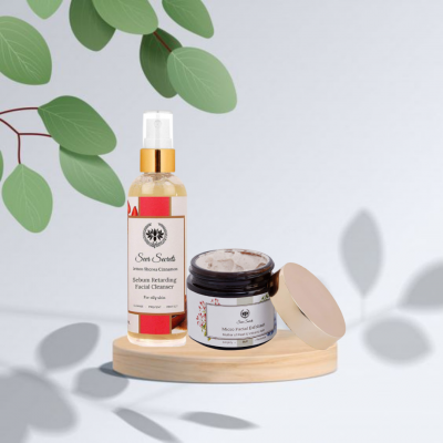 FACIAL CLEANSER AND MOTHER OF PEARL MICRO FACIAL EXFOLIANT COMBO FROM LUJOBOX BY SEER SECRETS