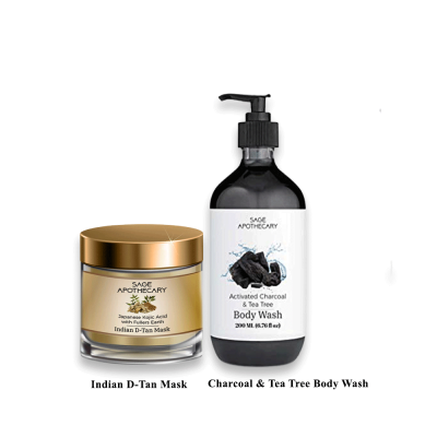 D-TAN MASK AND CHARCOAL & TEA TREE BODY WASH COMBO FROM LUJOBOX BY SEER SECRETS