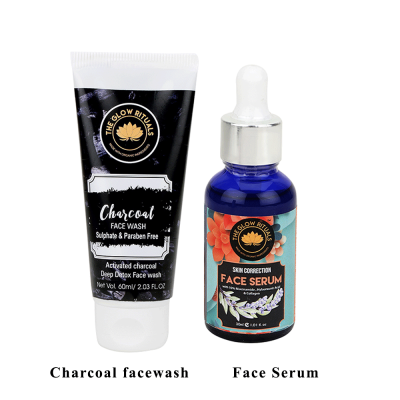 CHARCOAL FACEWASH & SKIN CORRECTION SERUM COMBO FROM LUJOBOX BY THE GLOW RITUALS