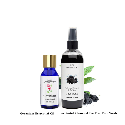 ACTIVATED CHARCOAL FACE WASH AND GERANIUM ESSENTIAL OIL COMBO FROM LUJOBOX BY SEER SECRETS