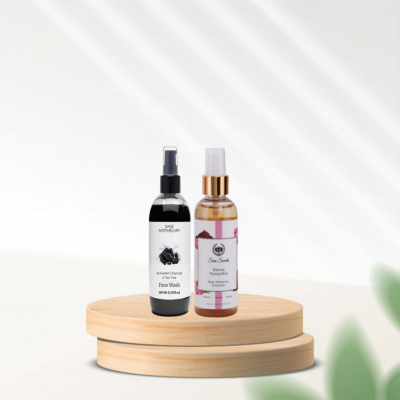 Toning mist and charcoal face wash combo from lujobox by seer secrets.