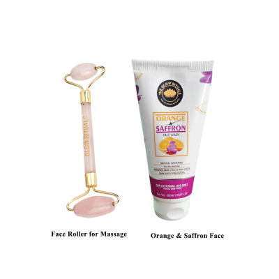 ROSE QUARTZ FACE ROLLER AND ORANGE & SAFFRON FACE WASH COMBO FROM LUJOBOX BY THE GLOW RITUALS