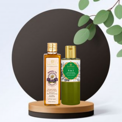 BHRINGRAJ HAIR OIL AND SHAMPOO COMBO FROM LUJOBOX BY JUST HERBS