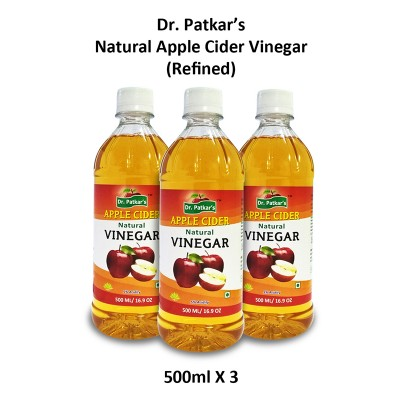 Dr. Patkar's Natural Apple Cider Vinegar Refined 500 ml (Pack of 3)