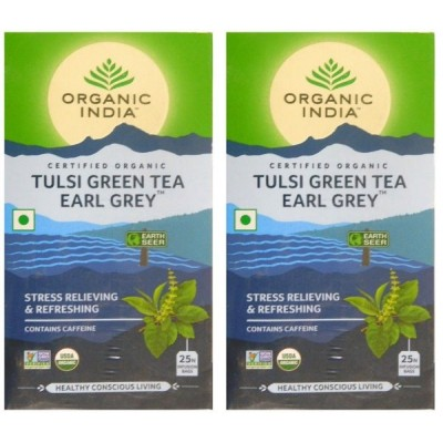 Organic India Tulsi Green Tea Earl Grey-25 Tea Bags (Pack of 2)