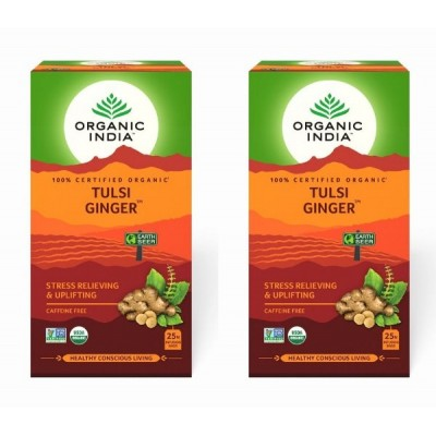 Organic India Tulsi Ginger 25 Tea Bags (Pack of 2)