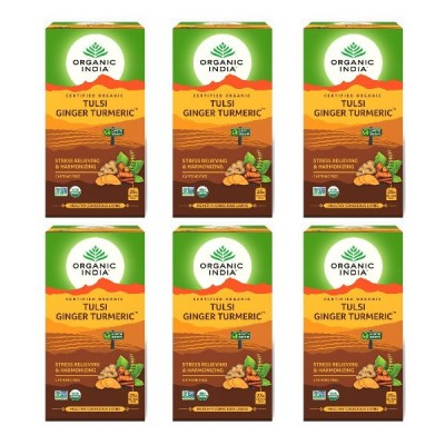 Organic India Tulsi Ginger Turmeric 25 Tea Bags (Pack of 6)