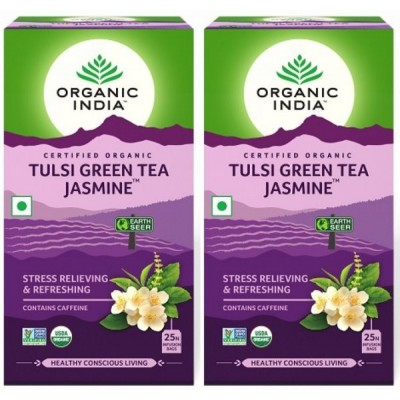 Organic India Tulsi Green Tea Jasmine- 25 Tea Bags (Pack of 2)