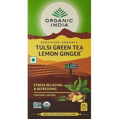 Organic India Tulsi Green Tea Lemon Ginger-25 Tea Bags