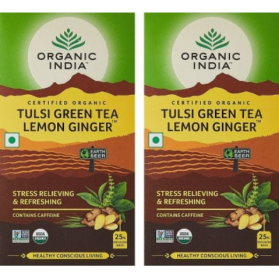 Organic India Tulsi Green Tea Lemon Ginger-25 Tea Bags (Pack of 2)