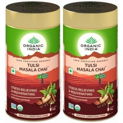Organic India Tulsi Masala Chai Tin 100 gram (Pack of 2)