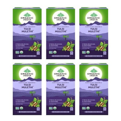 Organic India Tulsi Mulethi 25 Tea Bags (Pack of 6)