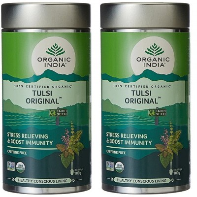 Organic India Tulsi Original -100 Gram Tin (Pack of 2)