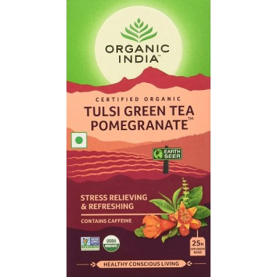 Organic India Tulsi Green Tea Pomegranate 25 Tea Bags