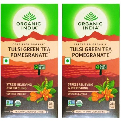 Organic India Tulsi Green Tea Pomegranate 25 Tea Bags (Pack of 2)