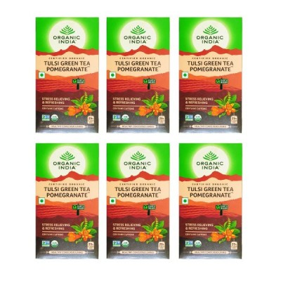 Organic India Tulsi Green Tea Pomegranate 25 Tea Bags (Pack of 6)