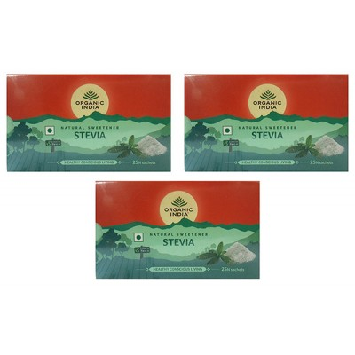 Organic India Stevia 75 Sachets (Pack of 3)