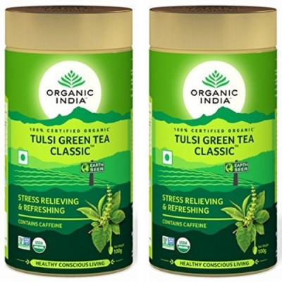 Organic India Tulsi Green Tea Classic 100 Gram Tin (Pack of 2)