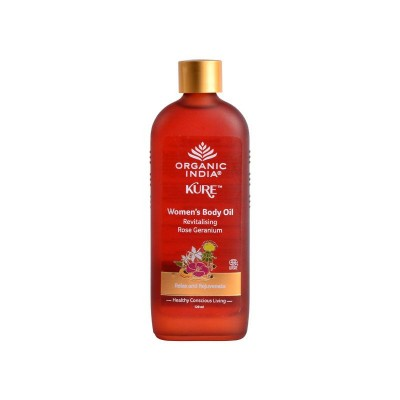 Organic India Women's Body Oil Revitalising Rose Geranium 120ml