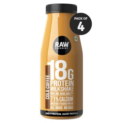 Raw Pressery Dairy Protein Milkshake - Cold Coffee, 4 x 200 ml