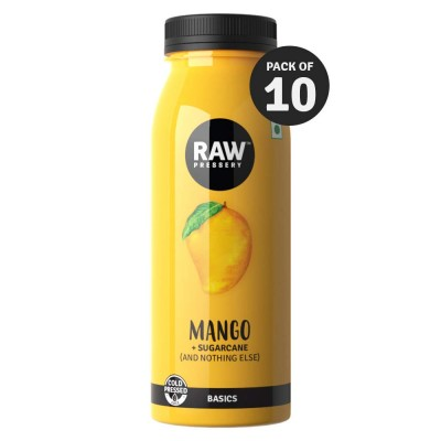 Raw Pressery 100% Natural Cold Pressed Juice - Mango Pet Bottle, 200 ml (Pack of 10)