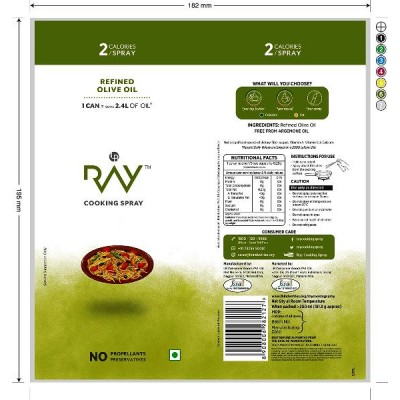 Ray Cooking Spray Oil - Refined Olive Oil 200 ml