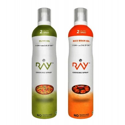 Ray Healthy Cooking Spray -Combo of Refined (Olive + Rice Bran) Oil - 200 ml Each (2 Calories/Spray)