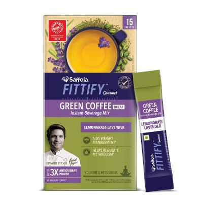 Saffola FITTIFY Gourmet Green Coffee Instant Beverage Mix for Weight Management – 30g (Lemongrass Lavender, 15 Sachets)