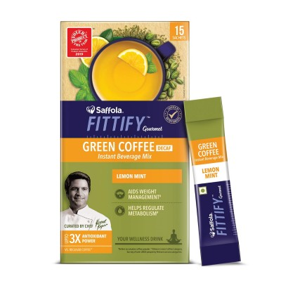 Saffola FITTIFY Gourmet Green Coffee Instant Beverage Mix for Weight Management - 30 g (Lemon Mint, 15 Sachets)
