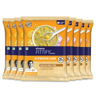 Saffola FITTIFY Gourmet Saffola FITTIFY Hi Protein Instant Soup with Multigrain Crunchies - Mexican Sweet Corn (Pack of 8)