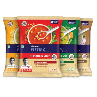 Saffola FITTIFY Gourmet HI Protein Soup- Assorted (Pack of 8)- 192g