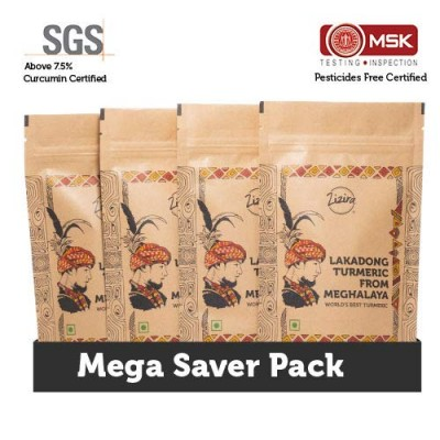 Zizira Mega Saver Pack- High Curcumin of 8% Lakadong Turmeric Powder 1Kg (Pack of 250g Each)