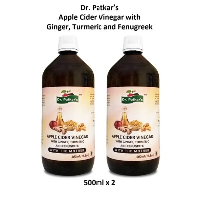 Dr. Patkar's Apple Cider Vinegar With Ginger, Turmeric and Fenugreek (500ML x 2)